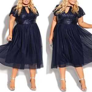 NWT City Chic Sparkle Joy Sequined Sapphire Dress